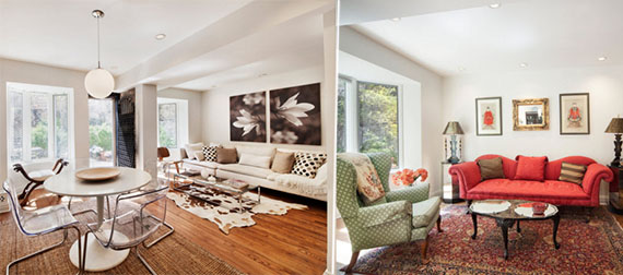 From left: Staged apartment at 134 West 82nd Street and apartment before staging