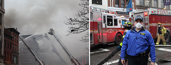 Scenes from the March 2015 explosion at 121 Second Avenue explosion (credit: Claire Moses / The Real Deal)