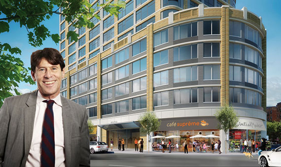 Paul Travis and a rendering of 4650 Broadway (credit: Sherman Acadia Ave LLC/DCP)