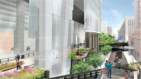 Rendering of a new section of the High Line at 30th Street (Credit: NYC Parks Department)