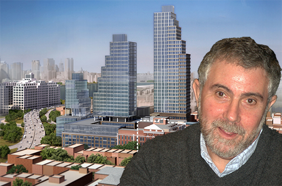 Paul Krugman and a rendering of Fortis' planned development at the former LICH site in Long Island City