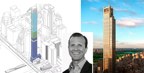 From left: A rendering of 80 South Street and a rendering 420 Park Avenue (inset: M Myers Mermel)