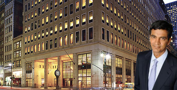 Sandeep Mathrani and a rendering of 522 Fifth Avenue