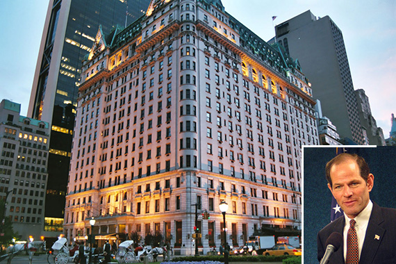 The Plaza Hotel in Midtown (inset: Eliot Spitzer)