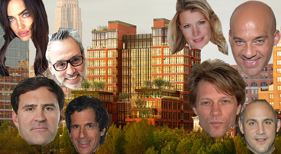 Clockwise from top left: Irina Shayk, Holly Parker, John Gomes, Jon Bon Jovi, David Ganek, Peter Morton, Greg Blatt and Leonard Steinberg and a rendering of 150 Charles