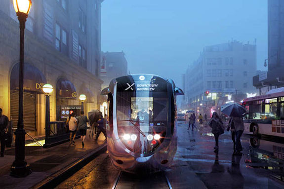 Rendering of Brooklyn-Queens streetcar line (credit: Friends of the Brooklyn Queens Connector)