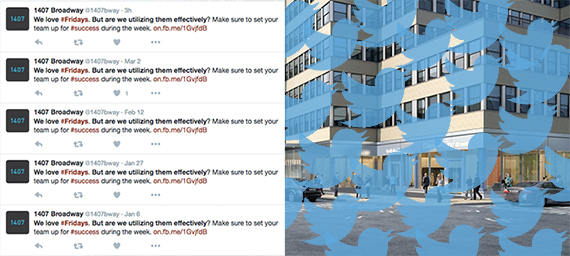 From left: Tweets from 1407Broadway and a rendering of the building