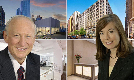 Andrew Singer and Kathleen McSharry with renderings of 387 Park Avenue South