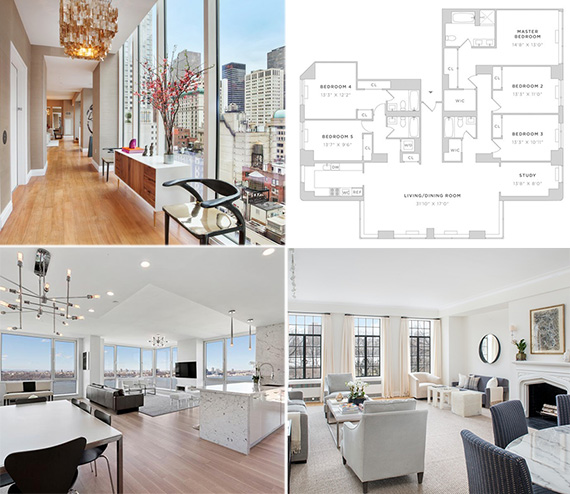Clockwise from top left: the Centurion, floor plan for combo unit at Carnegie Park, the Eldorado and the Atelier