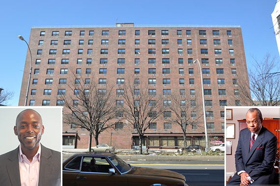 The Francis Ennis Houses at 2070 Clayton Powell Jr. Boulevard in Harlem (Inset from left: Carthage's Edward Poteat and Rev. Calvin Butts)