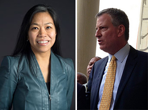 From left: Maria Torres-Springer and Bill de Blasio