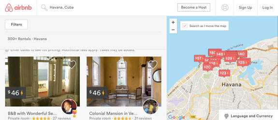A screen shot from Airbnb's website