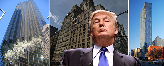 From left: Trump Tower, 100 Central Park South and the Trump Soho, with Donald Trump (credit: Gage Skidmore/Flickr)