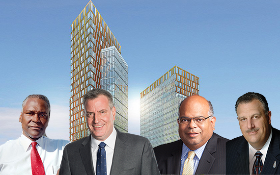 Rendering of Hallets Point (inset: From left: Keith Wright, Bill de Blasio, John Banks III and Gary LaBarbera