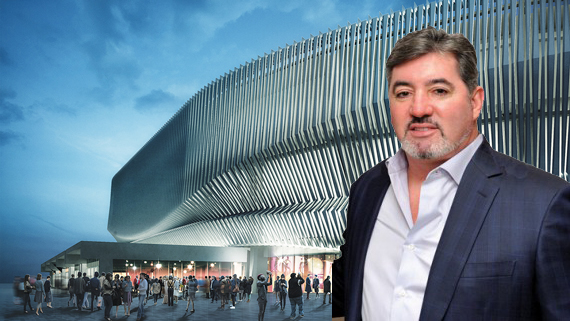 A rendering of Nassau Colosseum with Nick Mastroianni