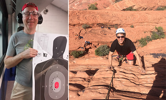 From left: David Firestein of SCG Retail, with his target from AK-47 shots at a gun range and James Wacht of Lee & Associates NYC, climbing rocks