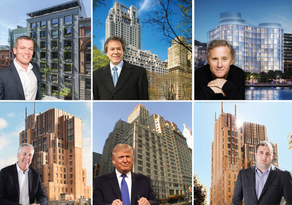 Clockwise: Joe McMIllan at 41 Bond Street; William Zeckendorf Jr. at 15 Central Park West; Ian Schrager at 160 Leroy Street; Michael Stern at Walker Tower; Donald Trump at 106 Central Park South; and Kevin Maloney at Walker Tower