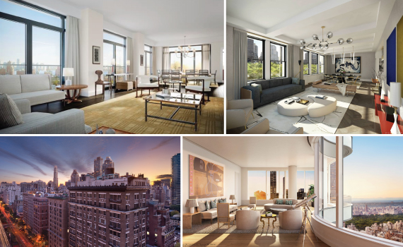 From clockwise: 155 West 11th Street - 10A in Central Village, 530 Park Avenue - 18F on the Upper East Side, 252 East 57th Street - 52A on the Middle East side and 212 Fifth Avenue in Flatiron