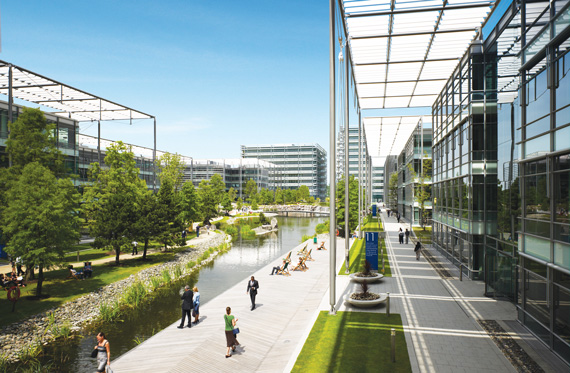 The London office complex Chiswick Park, which was sold at a discount by a closed fund during the last downturn.