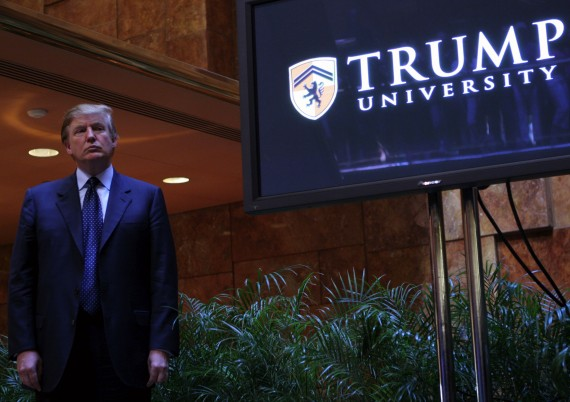 Donald Trump holding a media conference announcing the establishment of Trump University on May 23, 2005 in New York City (credit: Getty Images)