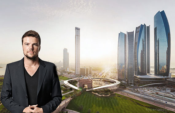 Bjarke Ingels and a rendering of the what could be the world's first hyperloop