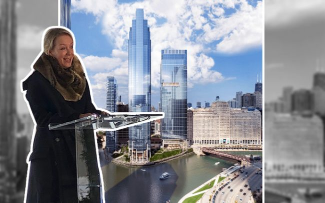 Elizabeth Pinkham, Salesforce vice president of real estate, and a rendering of Salesforce Tower. (Credit: Salesforce)