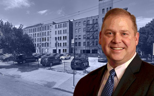 North Wells Capital CEO Jim Fox and the empty lot at 300 West Huron Street