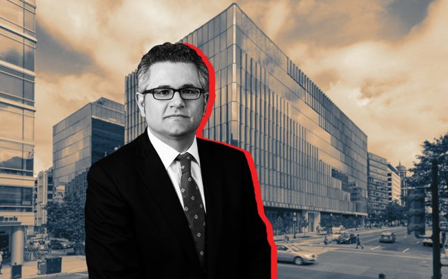 FHFA chief Mark Calabria and the Fannie Mae headquarters in Washington DC (Credit: Carr Properties)