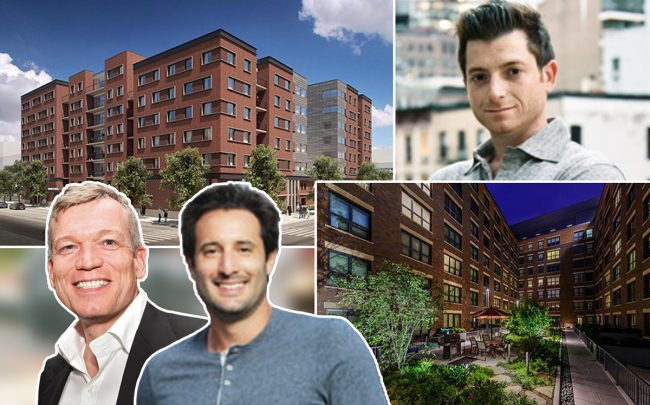 From left: Renderings of 1400 North Orleans Street with DDG CEO Joe McMillan (left), Marc Realty's David Ruttenberg and Jonathan Gordon (right)