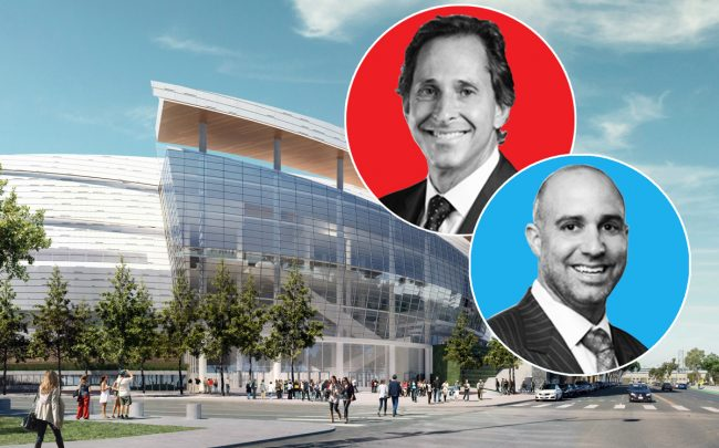 Cushman & Wakefield's Michael Sessa (left) and Craig Cassell with the Chase Center in San Francisco (Credit: Manica Architects)