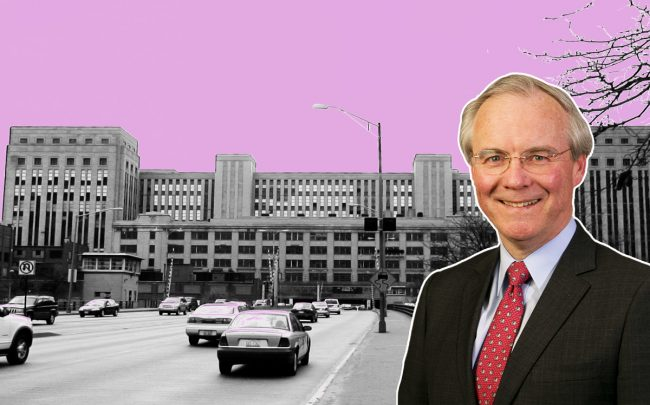 Kroger CEO Rodney McMullen and the Old Main Post Office at 433 West Van Buren Street (Credit: Getty Images and Wikipedia)