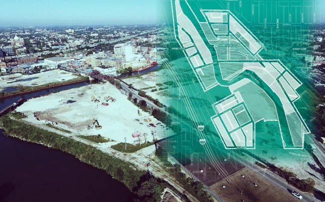 The Lincoln Yards development site with a map of the TIF district