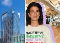 WeWork CEO Adam Neuman with 1 South Dearborn Street and the WeWork location at 167 North Green Street (right) (Credit: Getty Images, Hines, and WeWork)