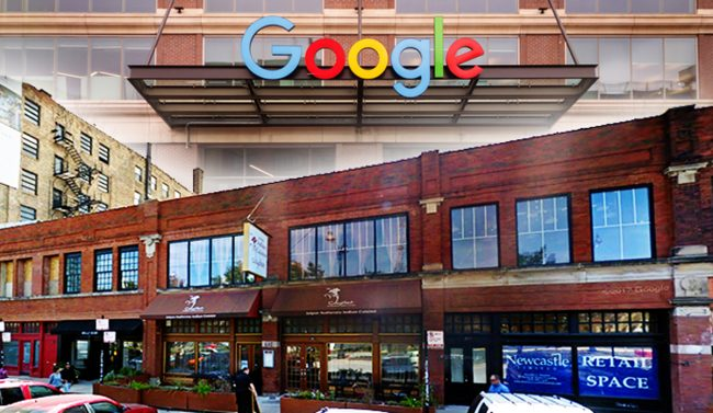Google's midwest headquarters in Fulton Market and the row of properties at 845-851 West Randolph Street (Credit: iStock and Google Maps)