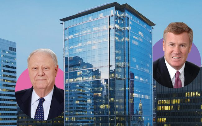 From left: Angelo Gordon CEO Michael Gordon, the Citadel Center at 131 South Dearborn Street, Hines Greg Van Schaak (Credit: Citadel Center)