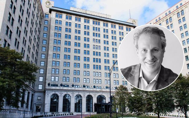 Antheus Capital Principal David Gefsky and the  Shoreland Hotel at 5454 South Shore Drive (Credit: LinkedIn)