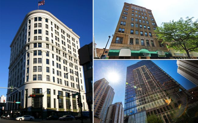 Clockwise from left:  Bridgeview Bank Building at 4717 North Clifton Avenue, Emerald Tower apartments at 4541 North Sheridan Road, and the Eurostars Magnificent Mile, formerly known as Dana Hotel at 660 North State Street