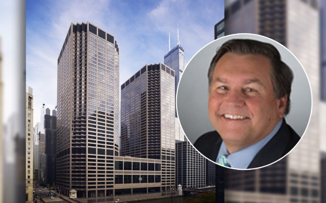 RSM CEO Joe Adams and CME Center at 30 South Wacker Drive (Credit: RSM and CME Center)
