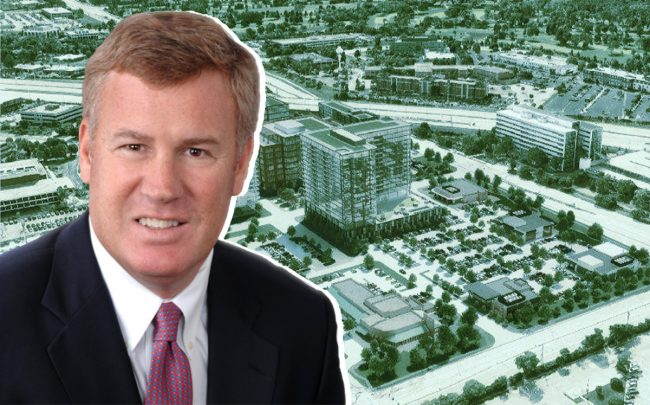 Hines' Greg Van Schaack and a rendering of the Oak Brook Commons project
