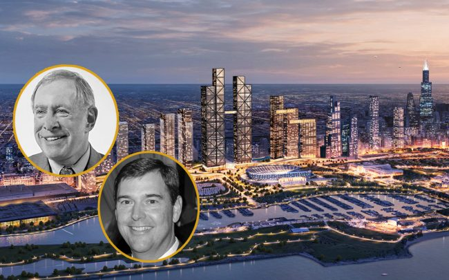 Developers Gerald Fogelson and Bob Dunn and a rendering of the One Central megadevelopment (Credit: Northwestern University; Sports Business Daily; Glessner House)