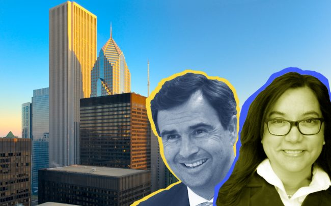 JLL CEO Christian Ulrich and CFO Stephanie Plaines, and their headquarters at the Aon Center (Credit: JLL and iStock)