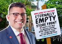 Alderman Carlos Ramirez-Rosa and A sign during a rally against a Mark Fishman-owned property. M. Fishman & Co.'s apartment building at 2936 W. Palmer St. (Credit: Duettographics, Pixabay)