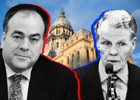 From left: Cook County Assessor Fritz Kaegi, the Illinois State Capital, and Michael Madigan (Credit: iStock and Reboot Illinois via YouTube)