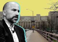 433 West Van Buren Street and Uber CEO Dara Khosrowshahi (Credit: Wikipedia and Getty Images)