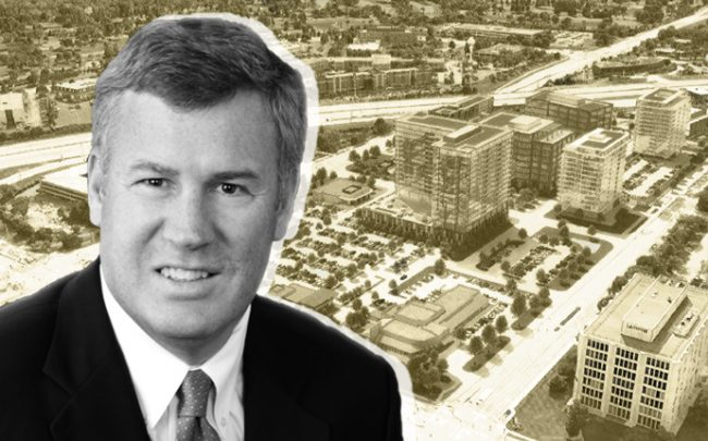 Hines' Greg Van Schaack and a rendering of the Oak Brook Commons project (Credit: Hines)