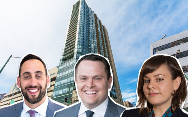 From left: Luxury Living CEO Aaron Galvin, Downtown Realty Company managing broker Ben Creamer, and Sarah Duda, deputy director of the Institute for Housing Studies at DePaul University, with 111 West Maple Street