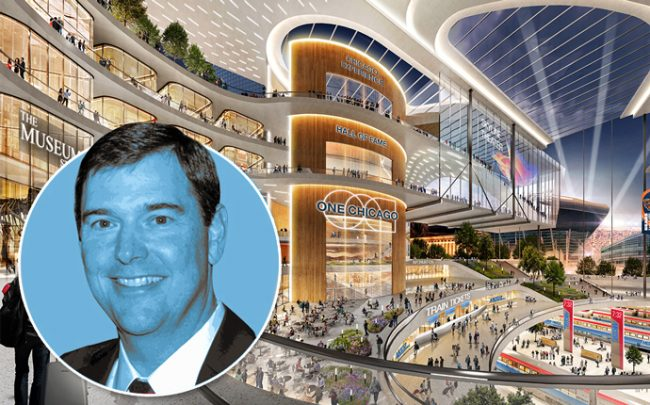 Bob Dunn and a rendering of the transit hub