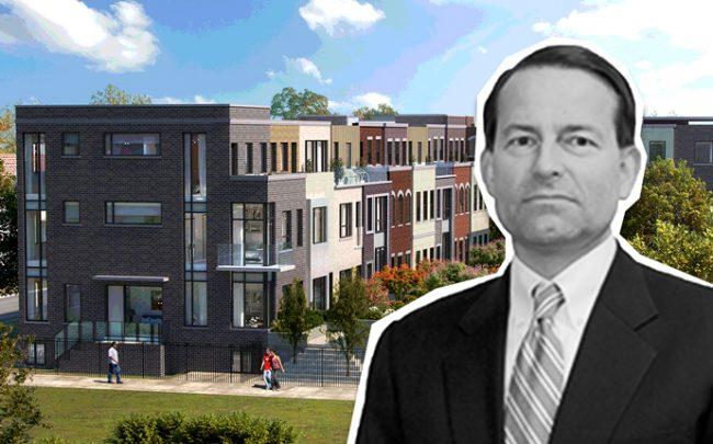 John Pellouchoud and a rendering of a 28-unit complex at 1225 West School Street