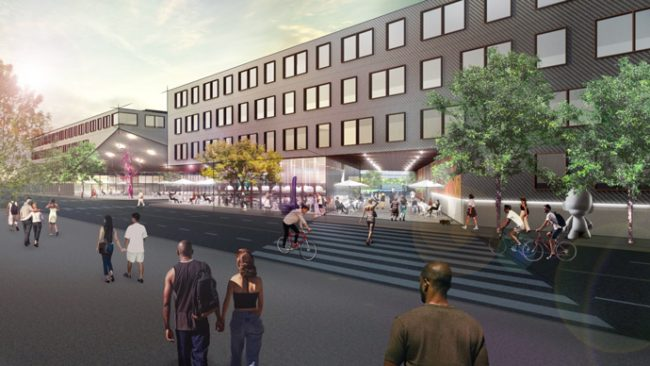 "Renderings of Property Markets Group's ""Parkworks"" proposal"