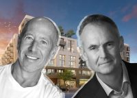 Starwood Capital's Barry Sternlicht, Holland Partner Group CEO Clyde Holland, and a rendering of 550 Harborfront